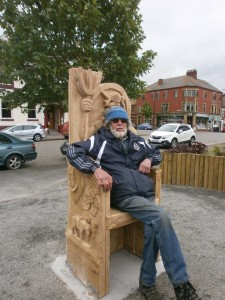 woodcarver on story telling chair
